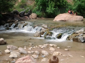 Preparing to splash around with the kids in the Virgin River.
