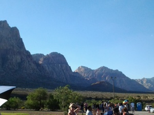 At Spring Mountain Ranch, west of Las Vegas, August 29, 2014.  We went to see a production of Shrek, and it was a ton of fun, but I always like the wait--standing out there just before sunset creates some excellent chances to see light streaming sideways through these mountains.
